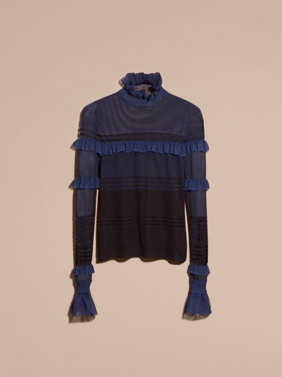 Black/navy Sheer Striped Sweater with Ruffles - cell image 3