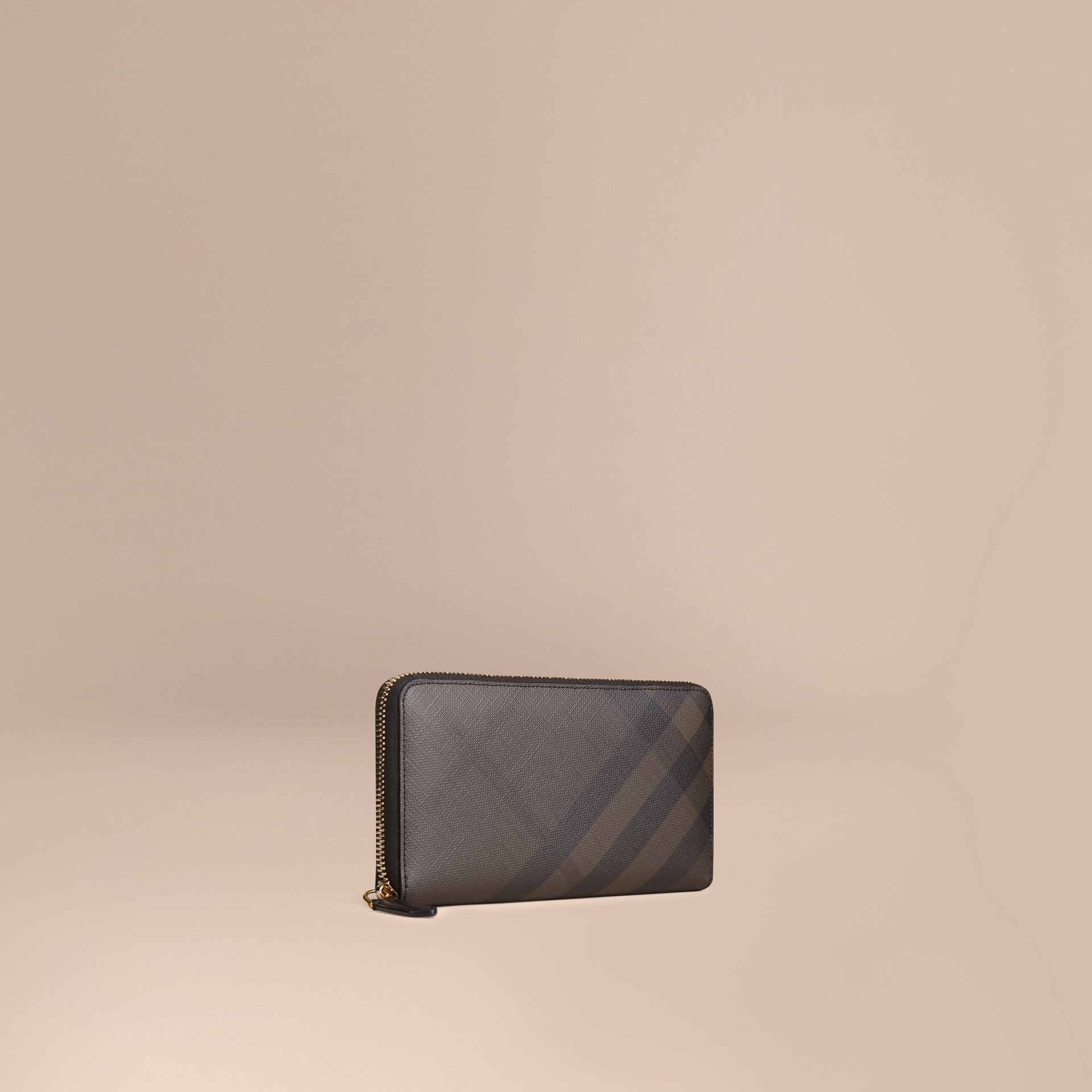 London Check Ziparound Wallet in Chocolate/black - Men | Burberry Singapore - gallery image 0
