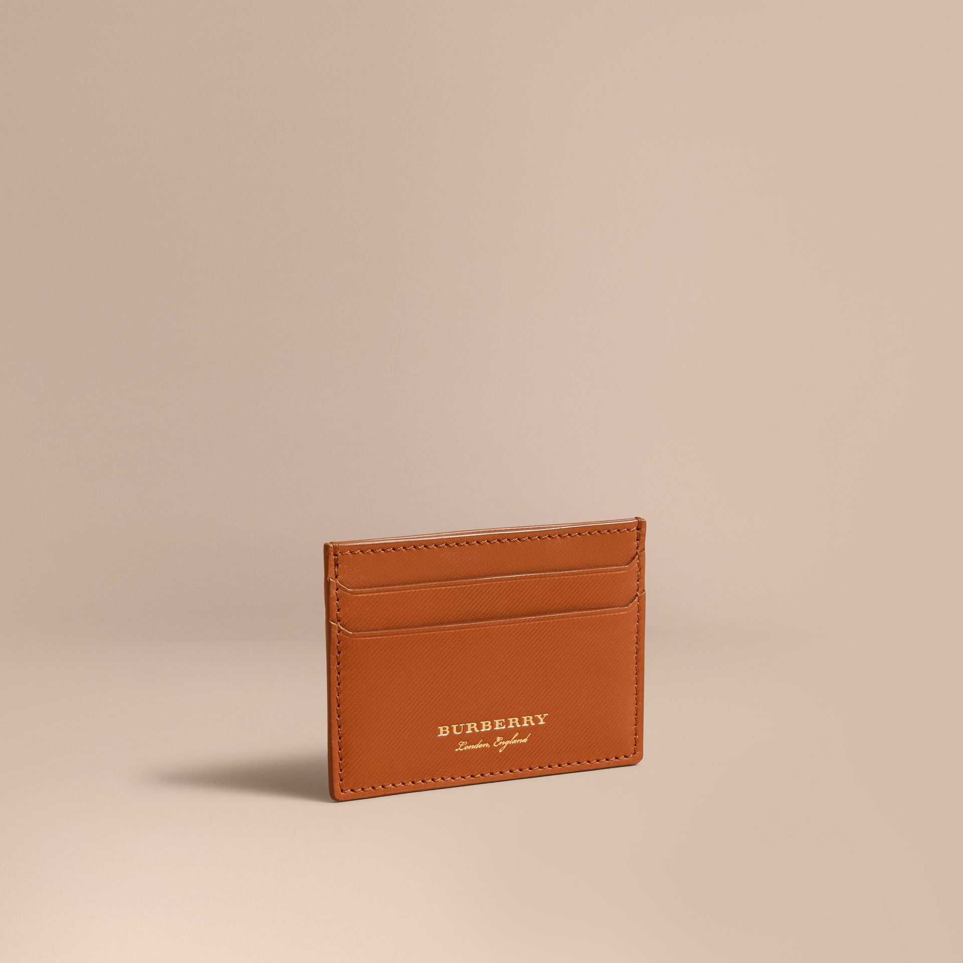 Trench Leather Card Case in Tan - Men | Burberry - gallery image 1