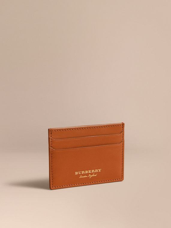 Trench Leather Card Case in Tan - Men | Burberry