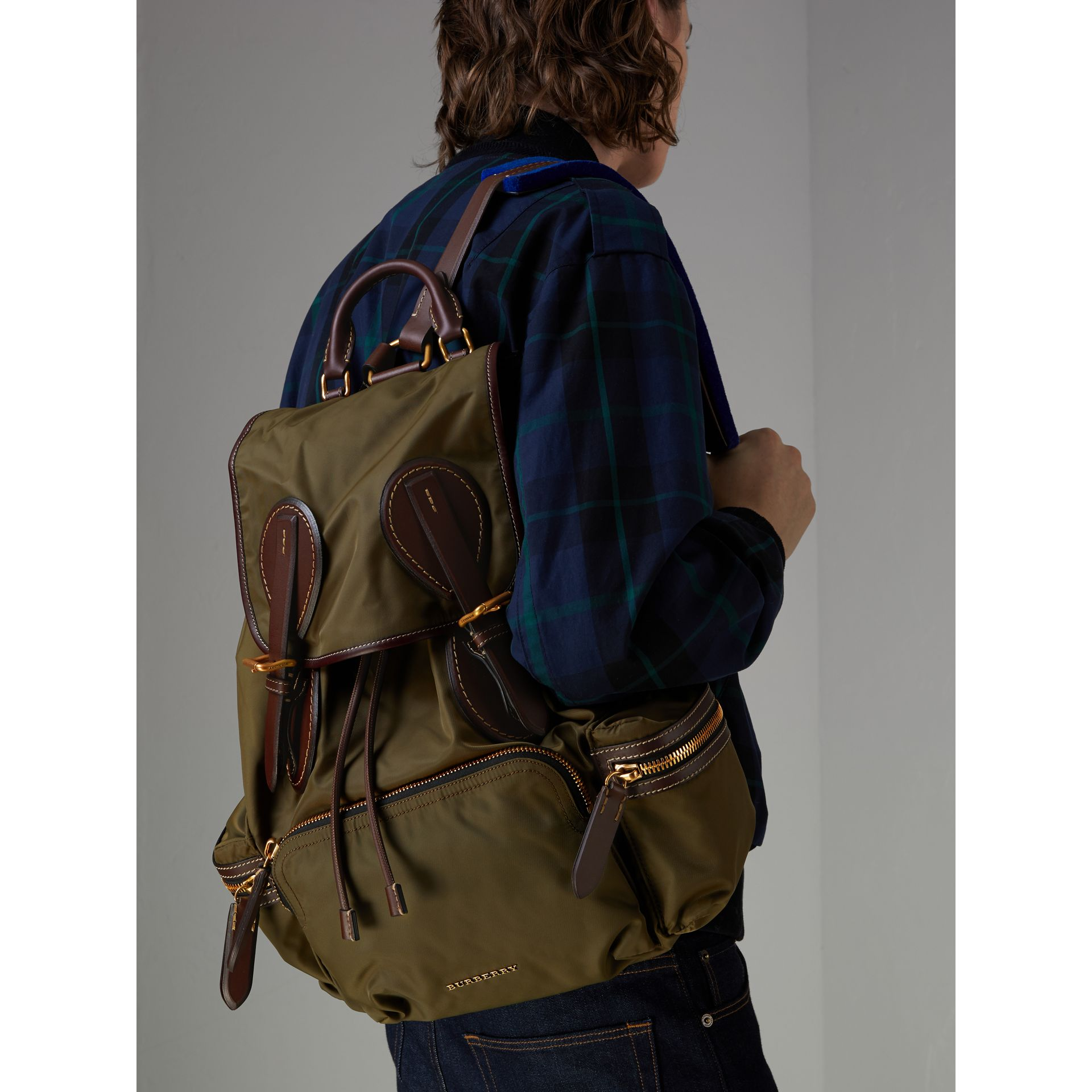 The Large Rucksack in Technical Nylon and Topstitched Leather in Dark Antique Green | Burberry United Kingdom - gallery image 3