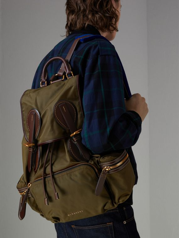 The Large Rucksack in Technical Nylon and Topstitched Leather in Dark Antique Green | Burberry Canada - cell image 3