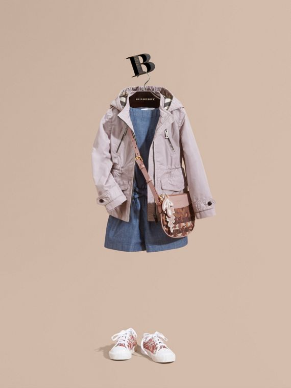 Hooded Packaway Technical Jacket in Stone White - Girl | Burberry