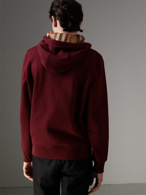 Check Detail Jersey Hooded Top in Dark Crimson - Men | Burberry United Kingdom - cell image 2