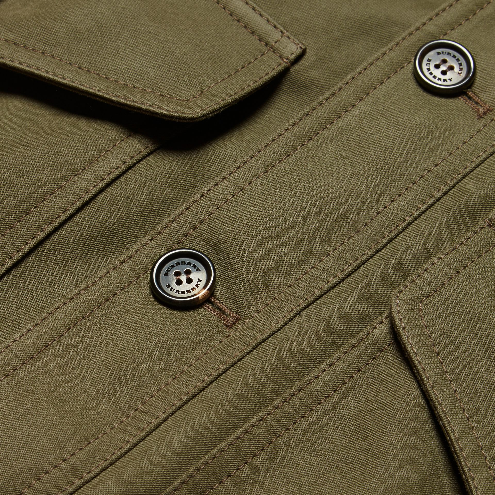 Military green Ramie Cotton and Suede Field Jacket - gallery image 2