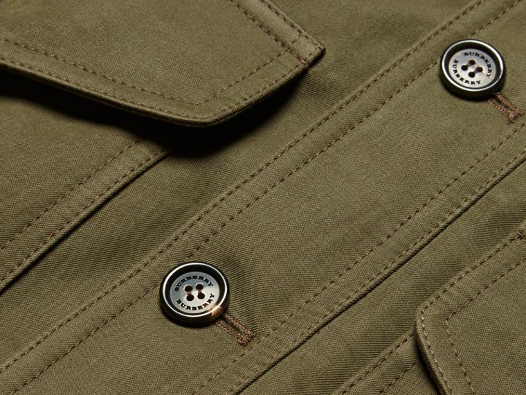 Military green Ramie Cotton and Suede Field Jacket - cell image 1