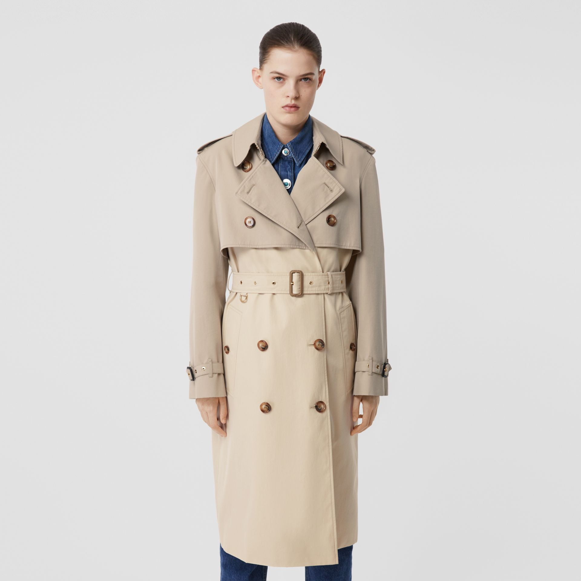 Two-tone Reconstructed Trench Coat in Light Sand - Women | Burberry United Kingdom - gallery image 6