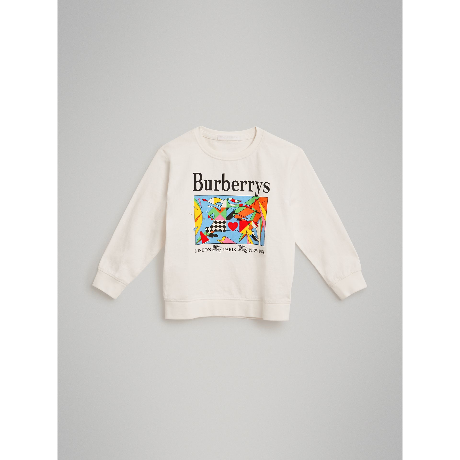 Archive Logo Print Cotton Sweatshirt in White | Burberry - gallery image 0