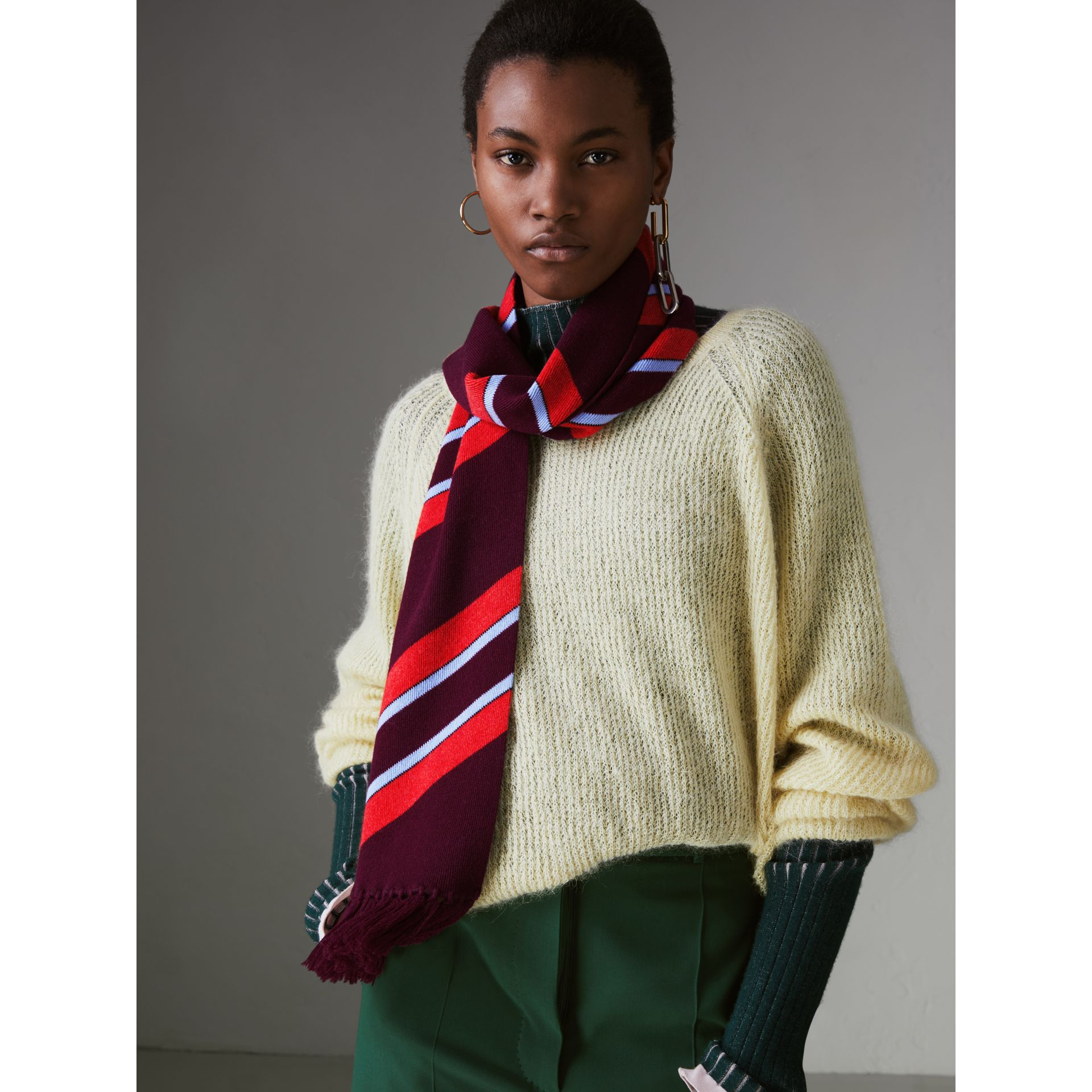 Tri-tone Striped Wool Cashmere Scarf in Burgundy | Burberry United Kingdom - gallery image 4