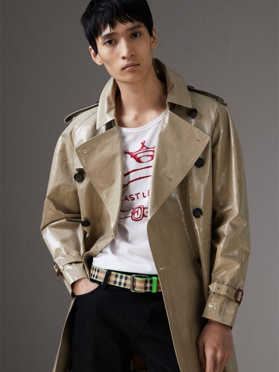 Haymarket Check and Leather Belt in Neon Green - Men | Burberry Hong Kong - cell image 2
