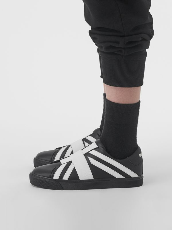 Union Jack Motif Slip-on Sneakers in Black/optic White - Women | Burberry - cell image 2