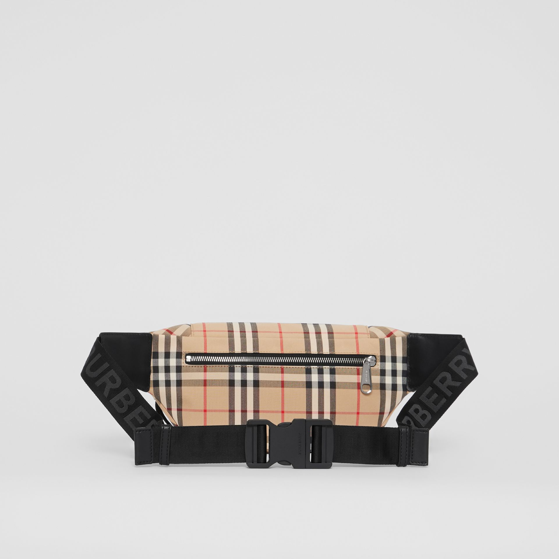 Medium Vintage Check Bonded Cotton Bum Bag in Archive Beige - Men | Burberry - gallery image 7