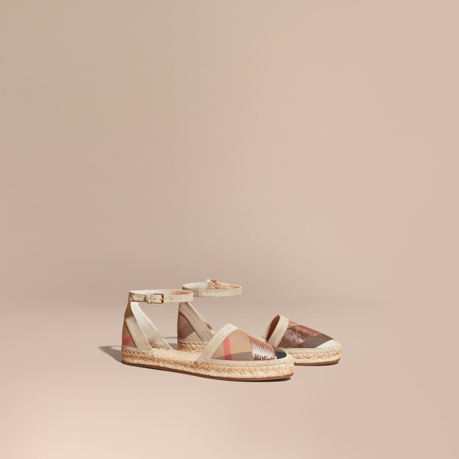 House check/pale pink Sequinned Leather and House Check Espadrille Sandals Check/pale Pink - gallery image 1