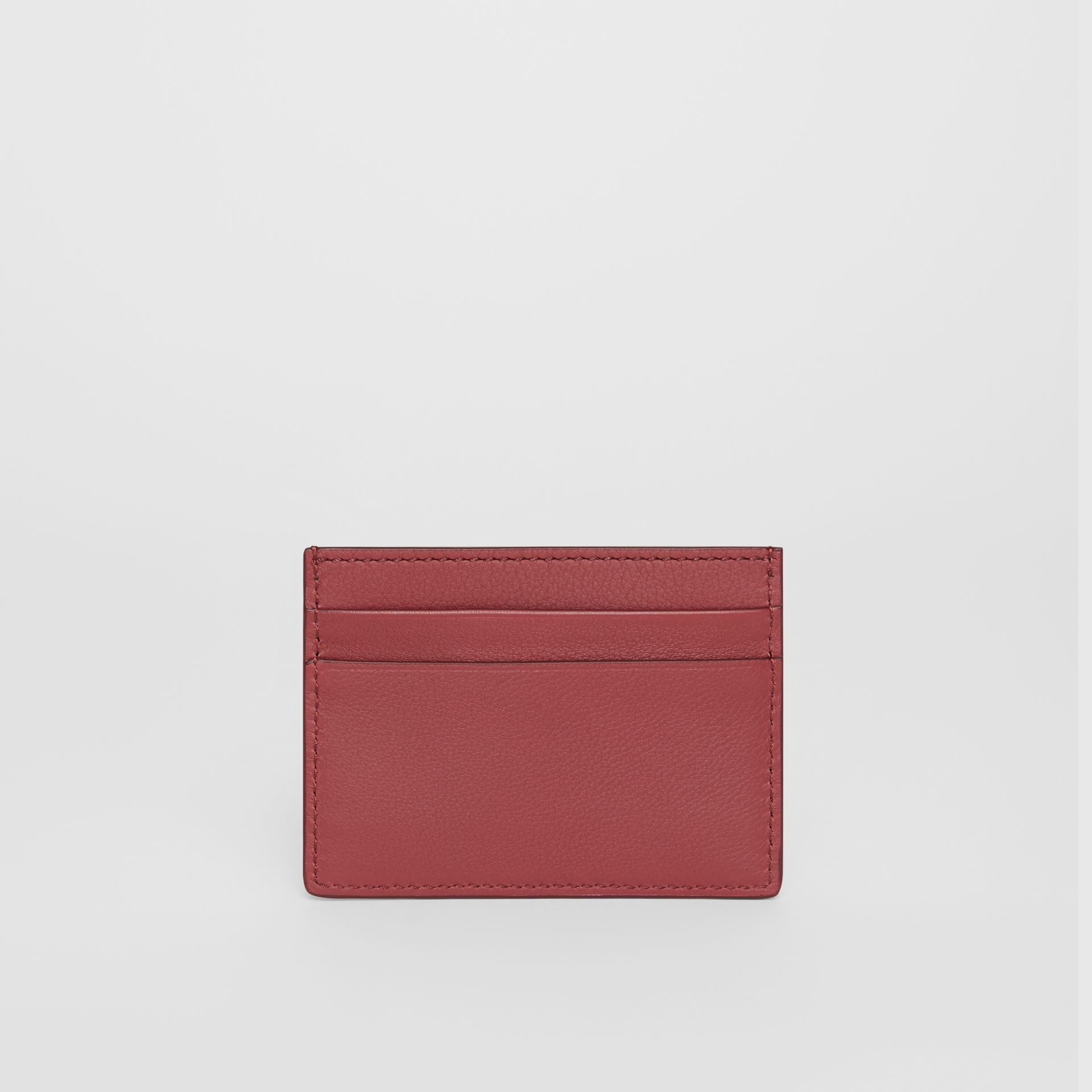 Embossed Crest Leather Card Case in Crimson | Burberry - gallery image 2