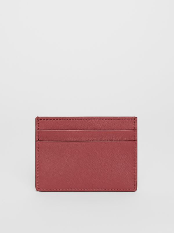 Embossed Crest Leather Card Case in Crimson | Burberry Australia - cell image 2