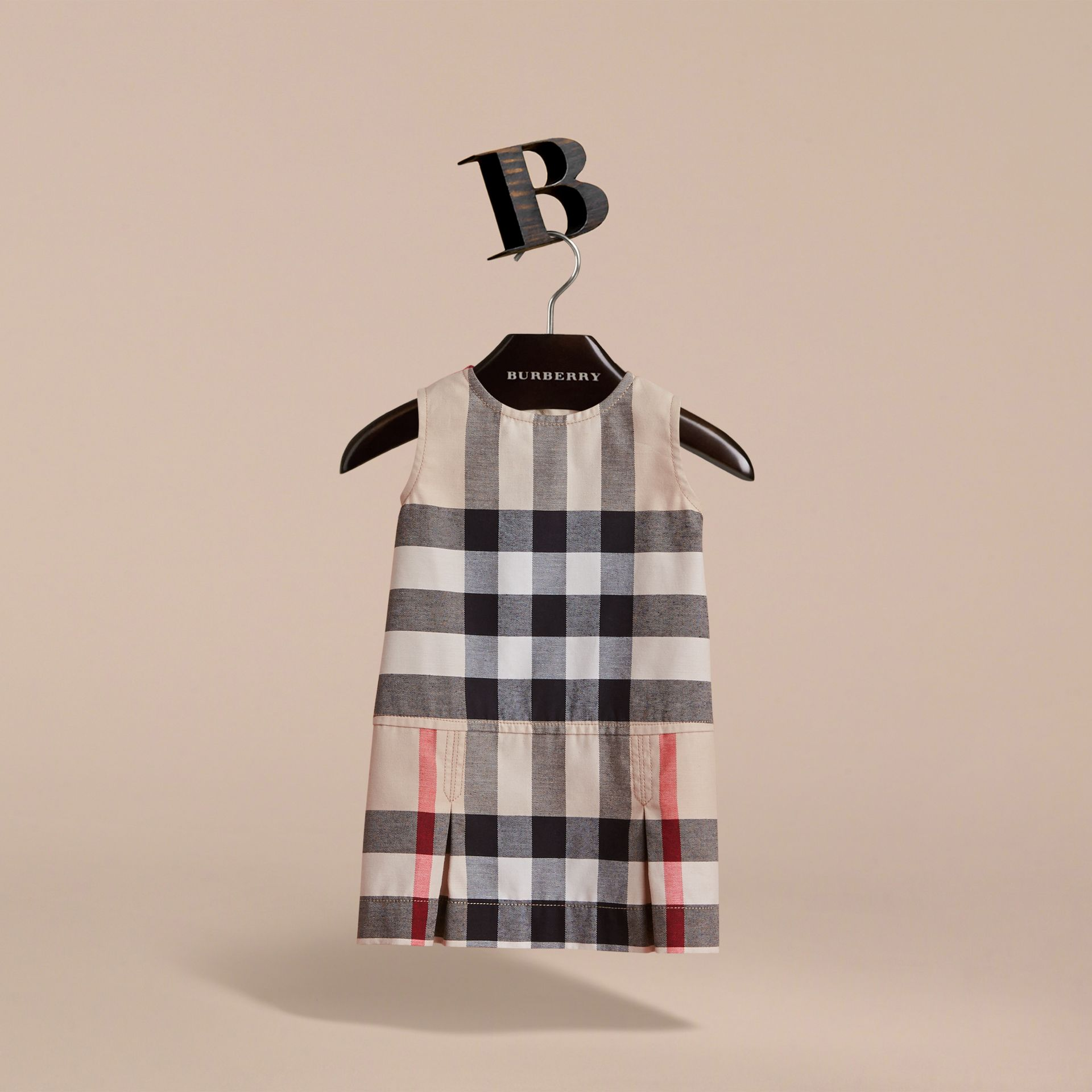 Pleated Washed Check Cotton A-line Dress in Stone | Burberry Hong Kong - gallery image 3