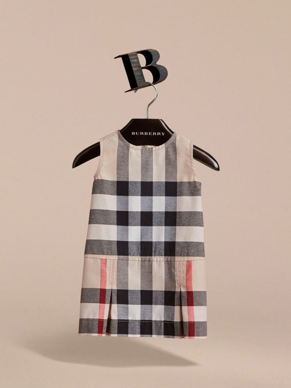 Pleated Washed Check Cotton A-line Dress | Burberry - cell image 2