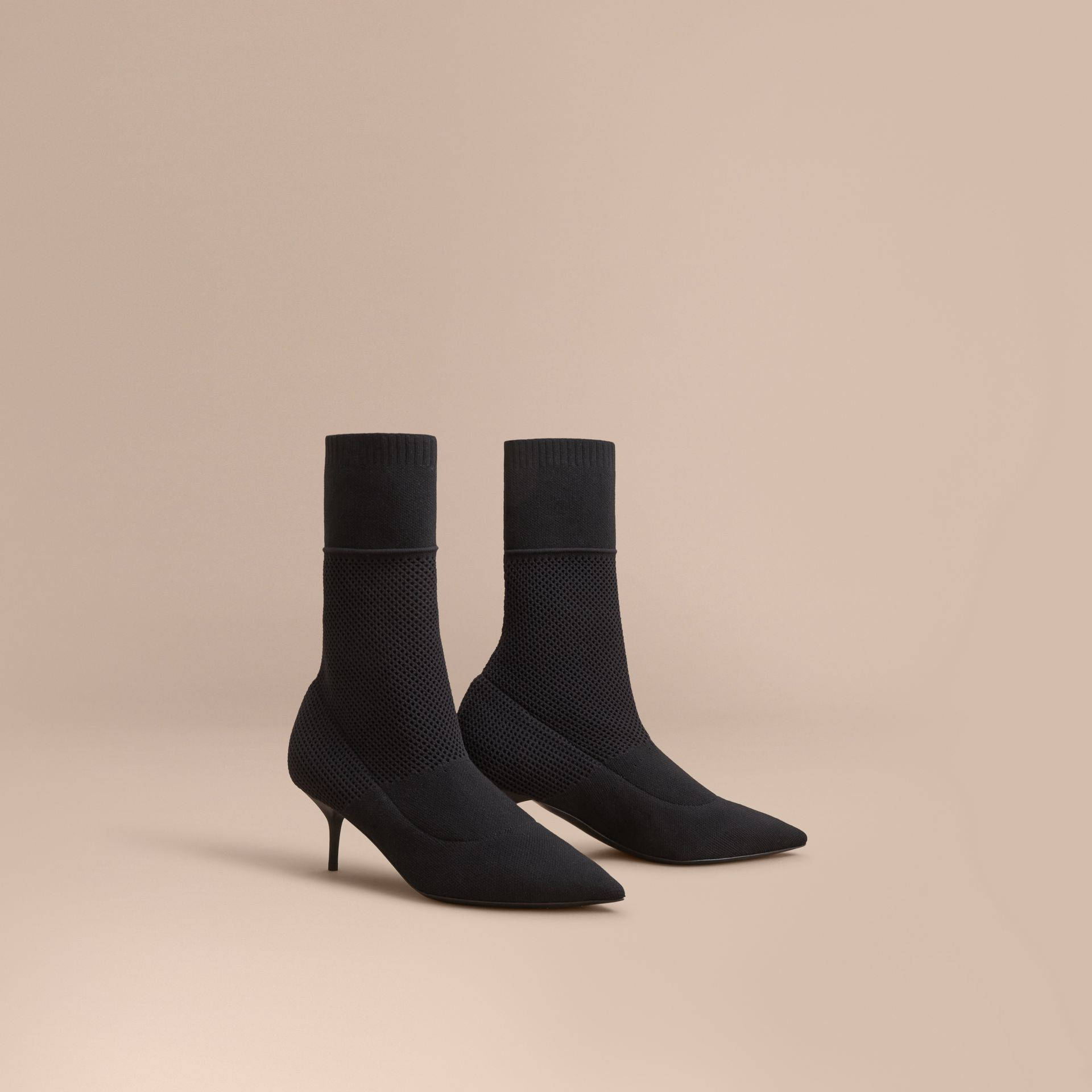 Mid-calf Knitted Mesh Detail Boots in Black - Women | Burberry - gallery image 1