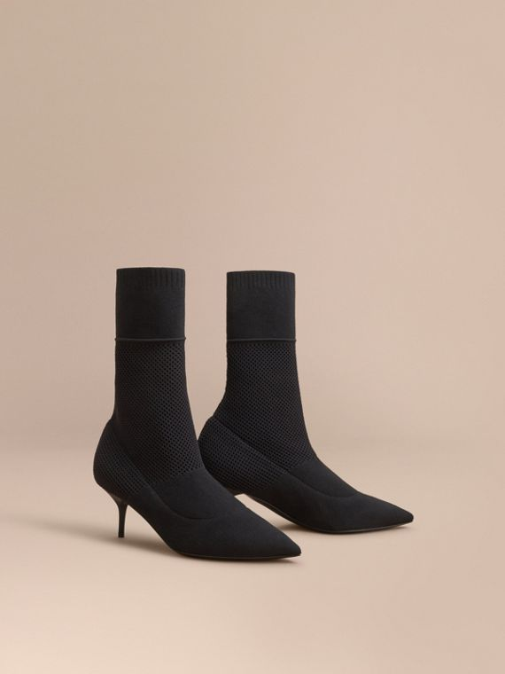 Mid-calf Knitted Mesh Detail Boots in Black