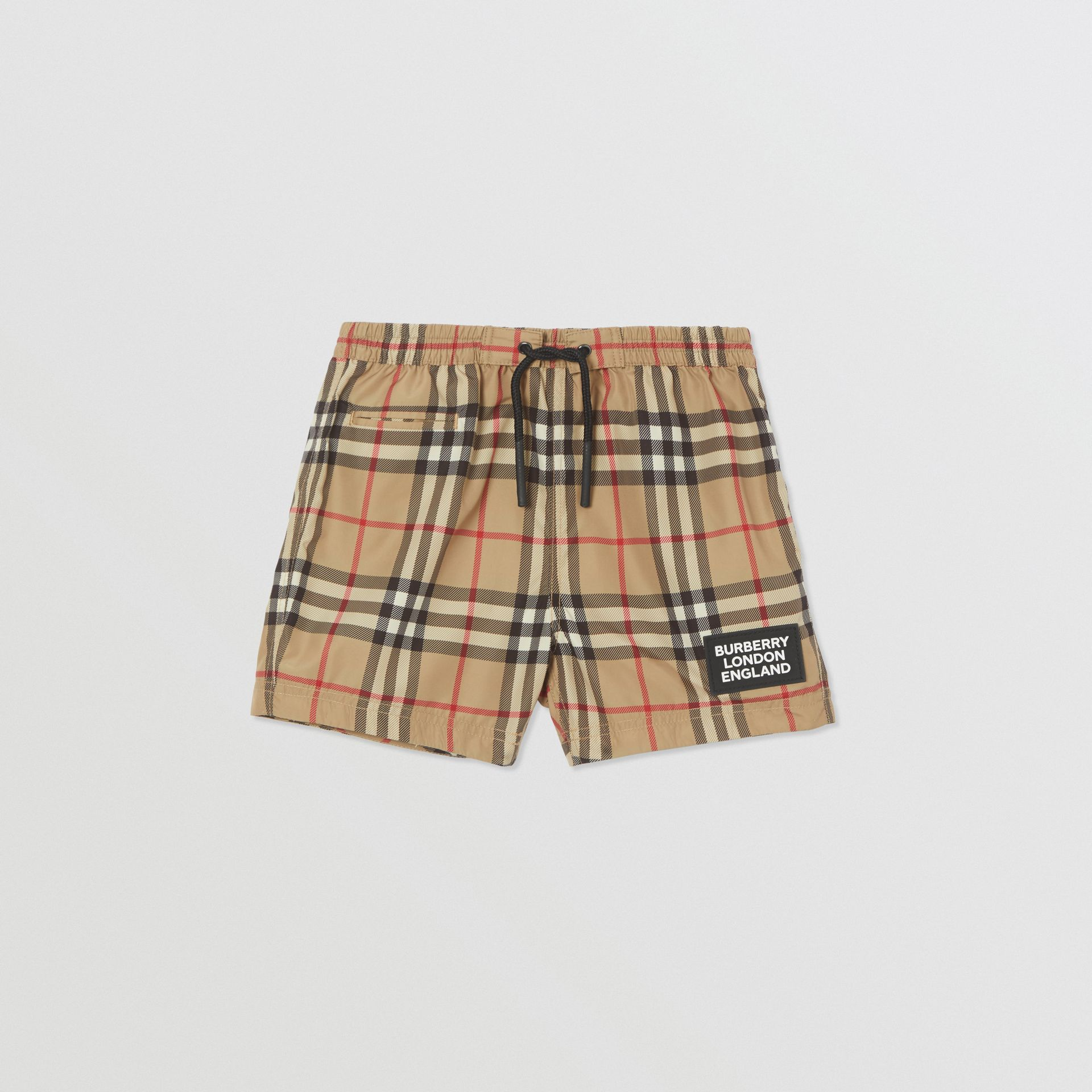Logo Appliqué Vintage Check Swim Shorts in Archive Beige - Children | Burberry United States - gallery image 0