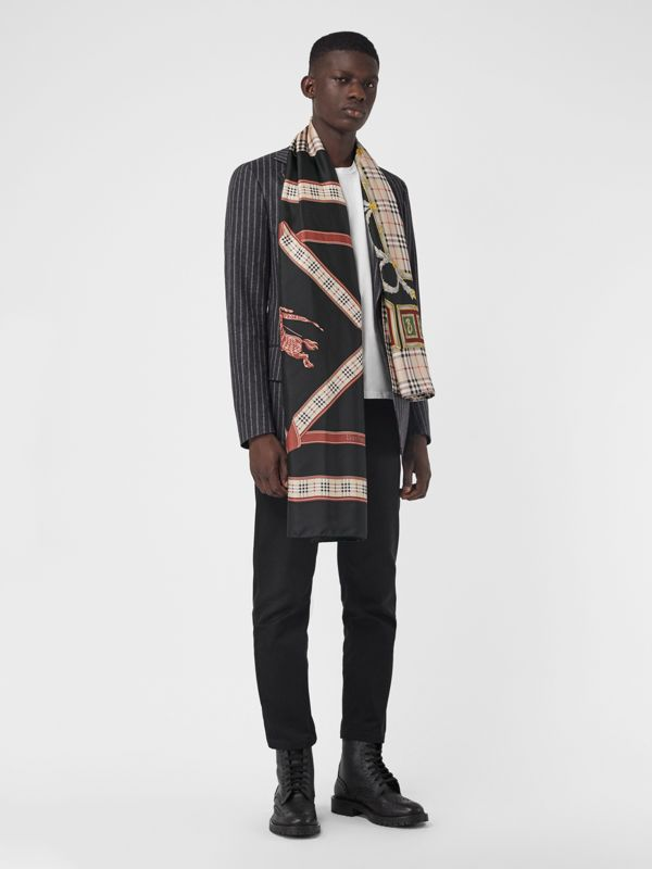 Archive Scarf Print Silk Scarf in Multicolour | Burberry - cell image 3