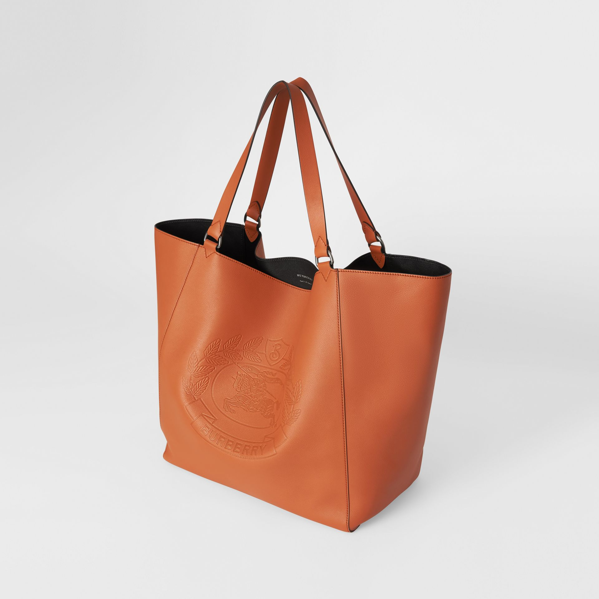 Large Embossed Crest Bonded Leather Tote in Bright Tan | Burberry - gallery image 2