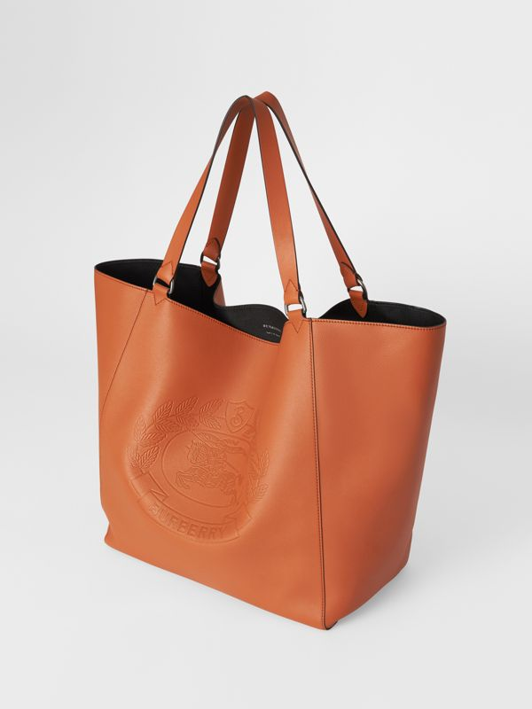 Large Embossed Crest Bonded Leather Tote in Bright Tan | Burberry - cell image 2
