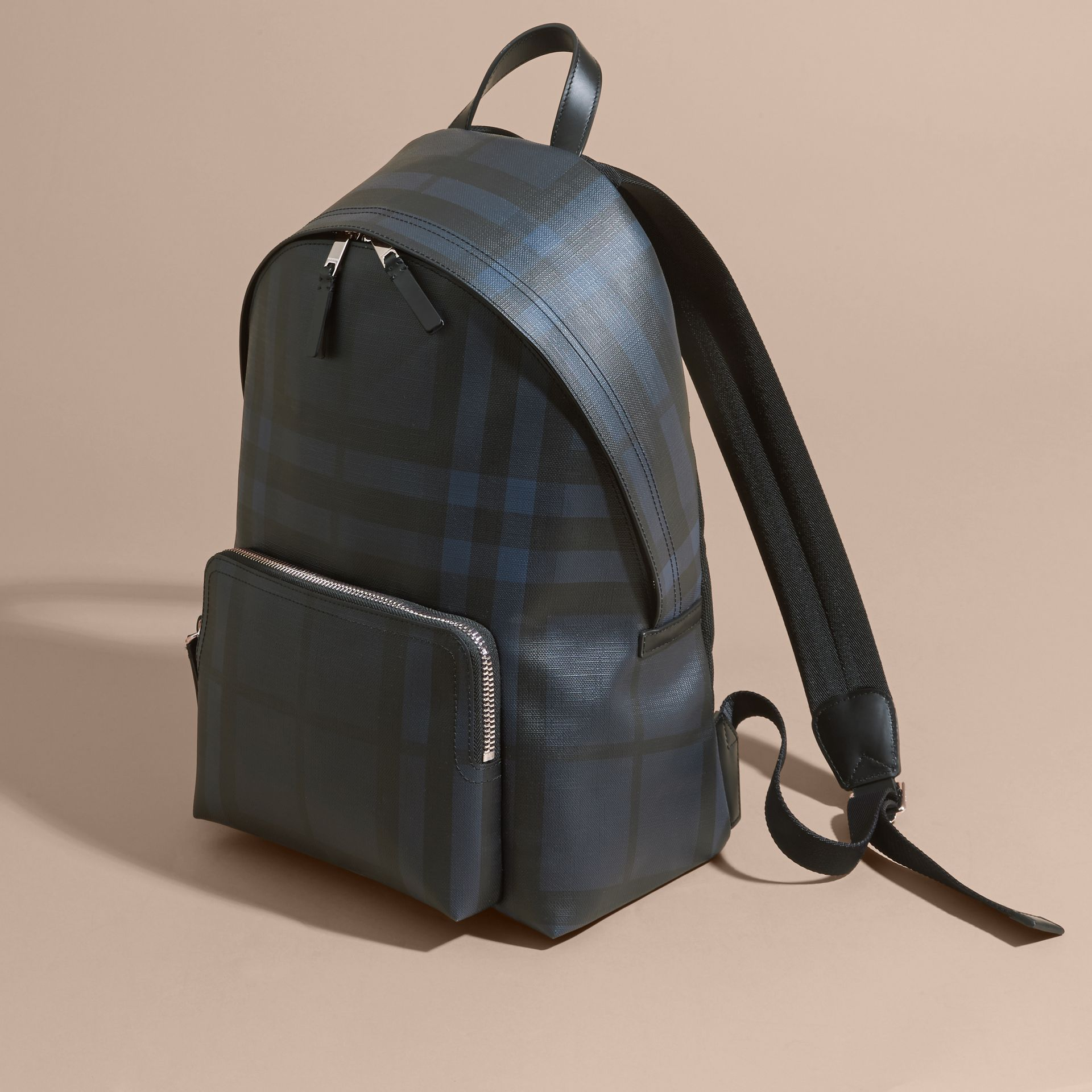 Leather Trim London Check Backpack Navy/black - gallery image 7