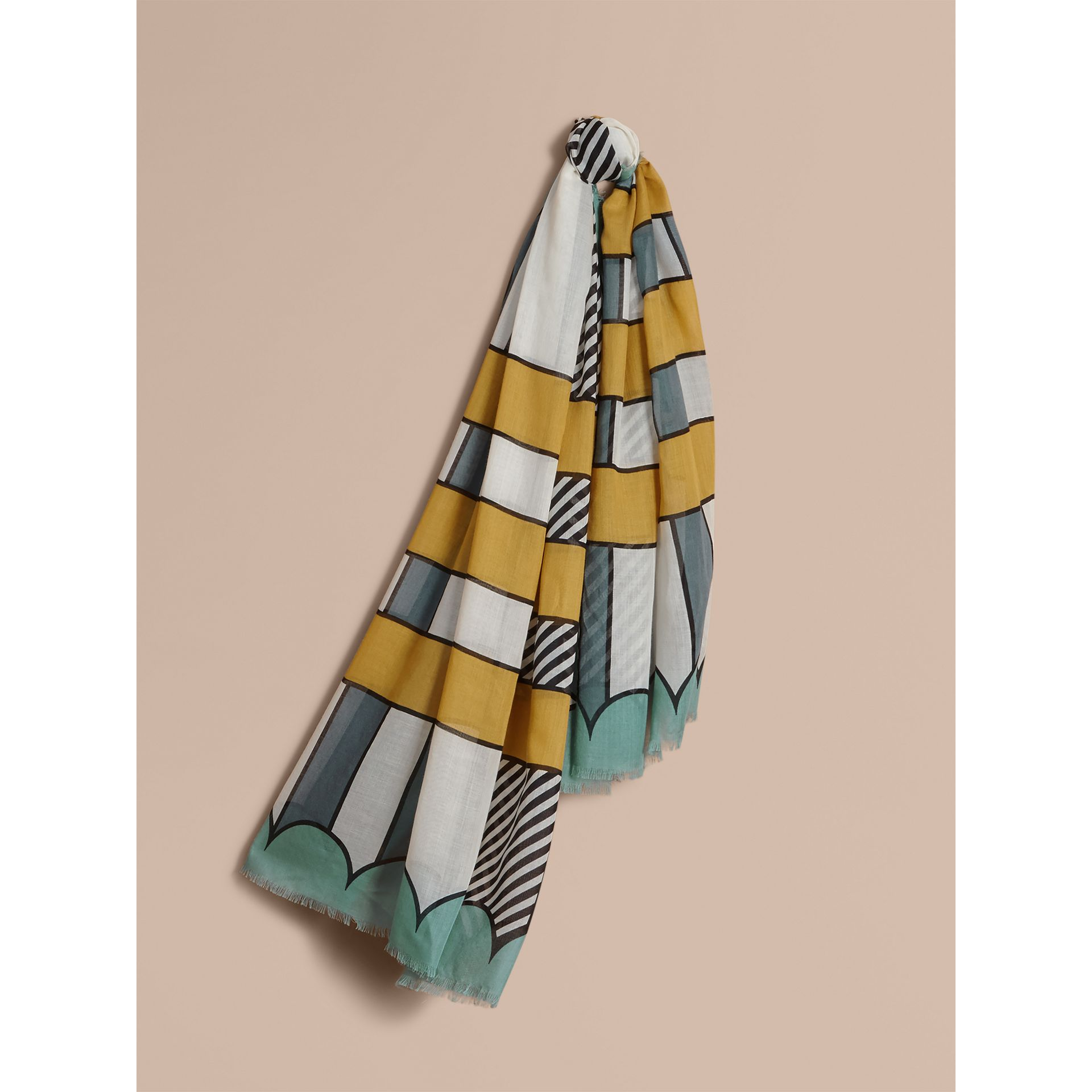 Striped Exaggerated Check Cashmere Silk Scarf in Light Mint - Women | Burberry - gallery image 1