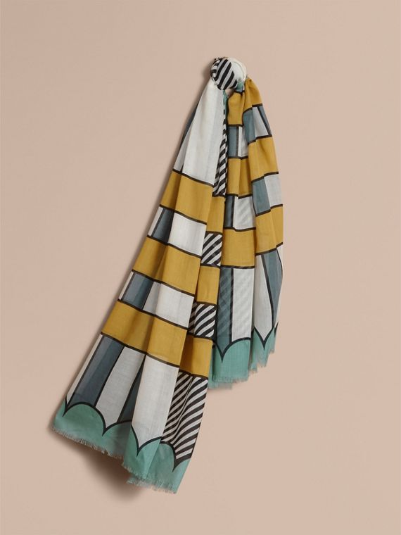 Striped Exaggerated Check Cashmere Silk Scarf in Light Mint