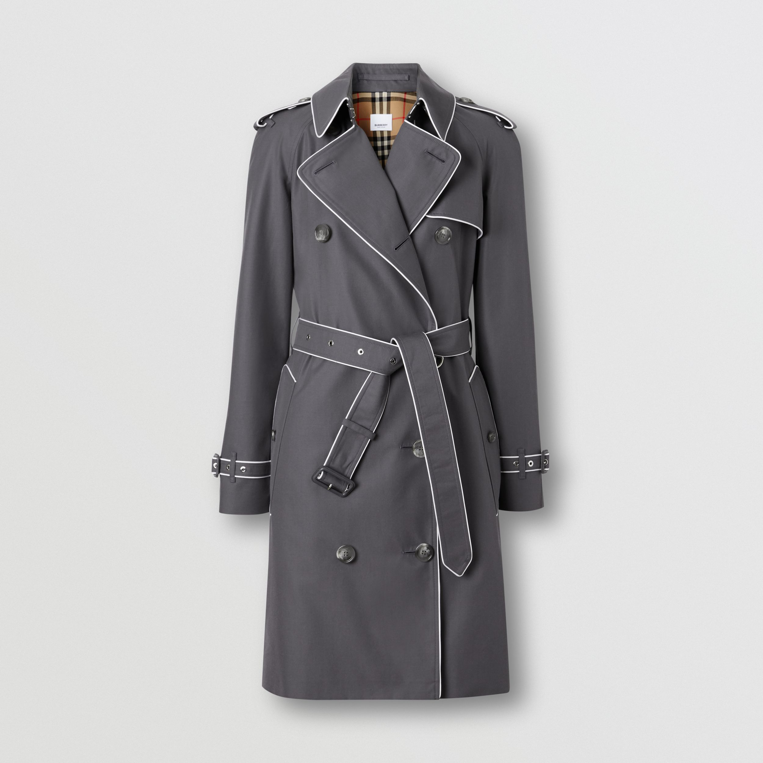 Piped Cotton Gabardine Trench Coat in Mid Grey - Women | Burberry - 4