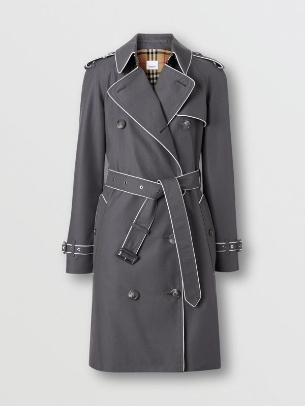 Piped Cotton Gabardine Trench Coat in Mid Grey - Women | Burberry - cell image 3