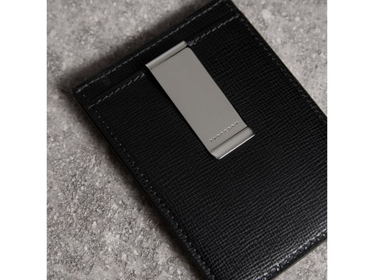 London Leather Money Clip Card Case in Black - Men | Burberry - cell image 1