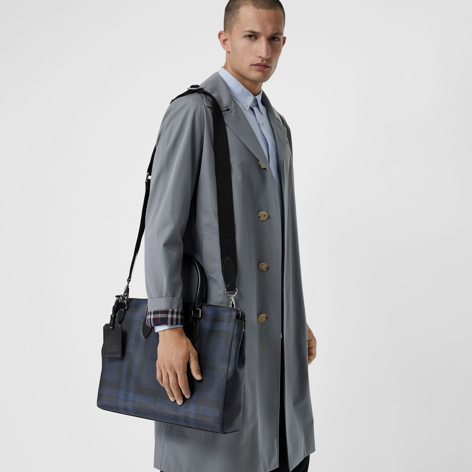 Large London Check Briefcase in Navy/black - Men | Burberry Australia - gallery image 3