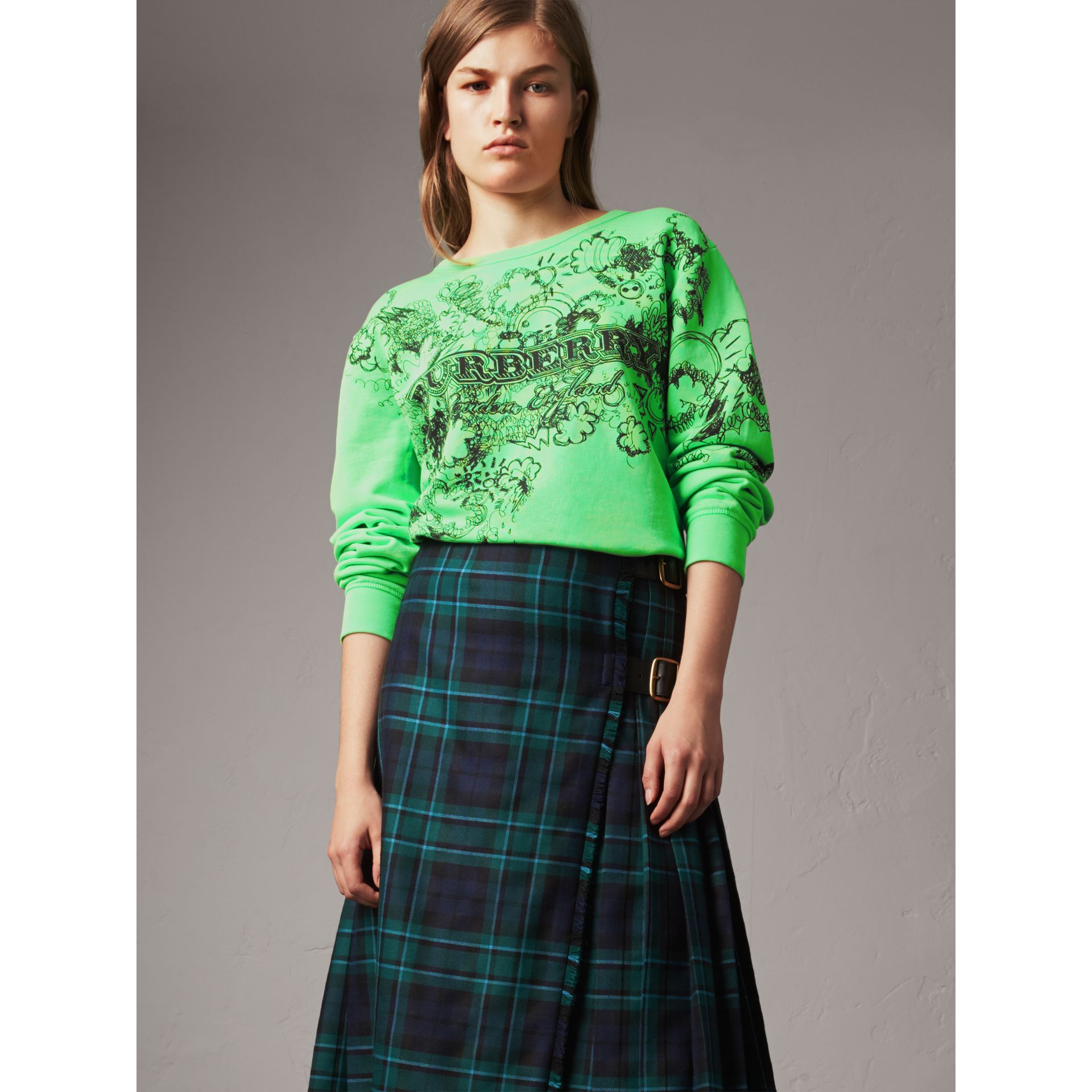 Doodle Print Cotton Sweatshirt in Bright Apple Green - Women | Burberry United States - gallery image 4
