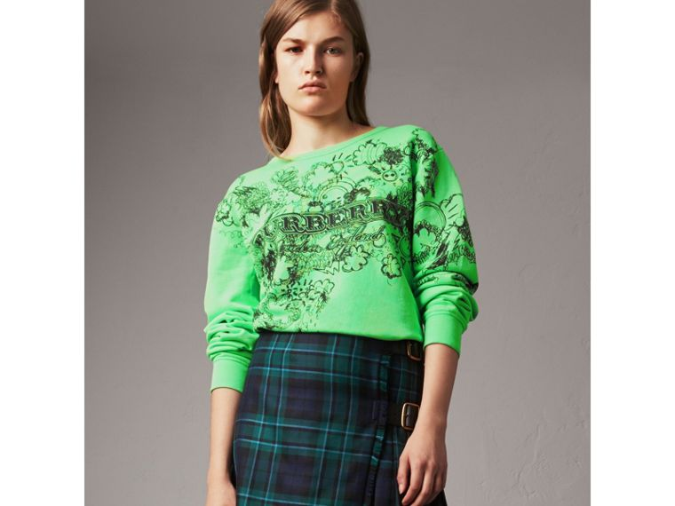Doodle Print Cotton Sweatshirt in Bright Apple Green - Women | Burberry - cell image 4