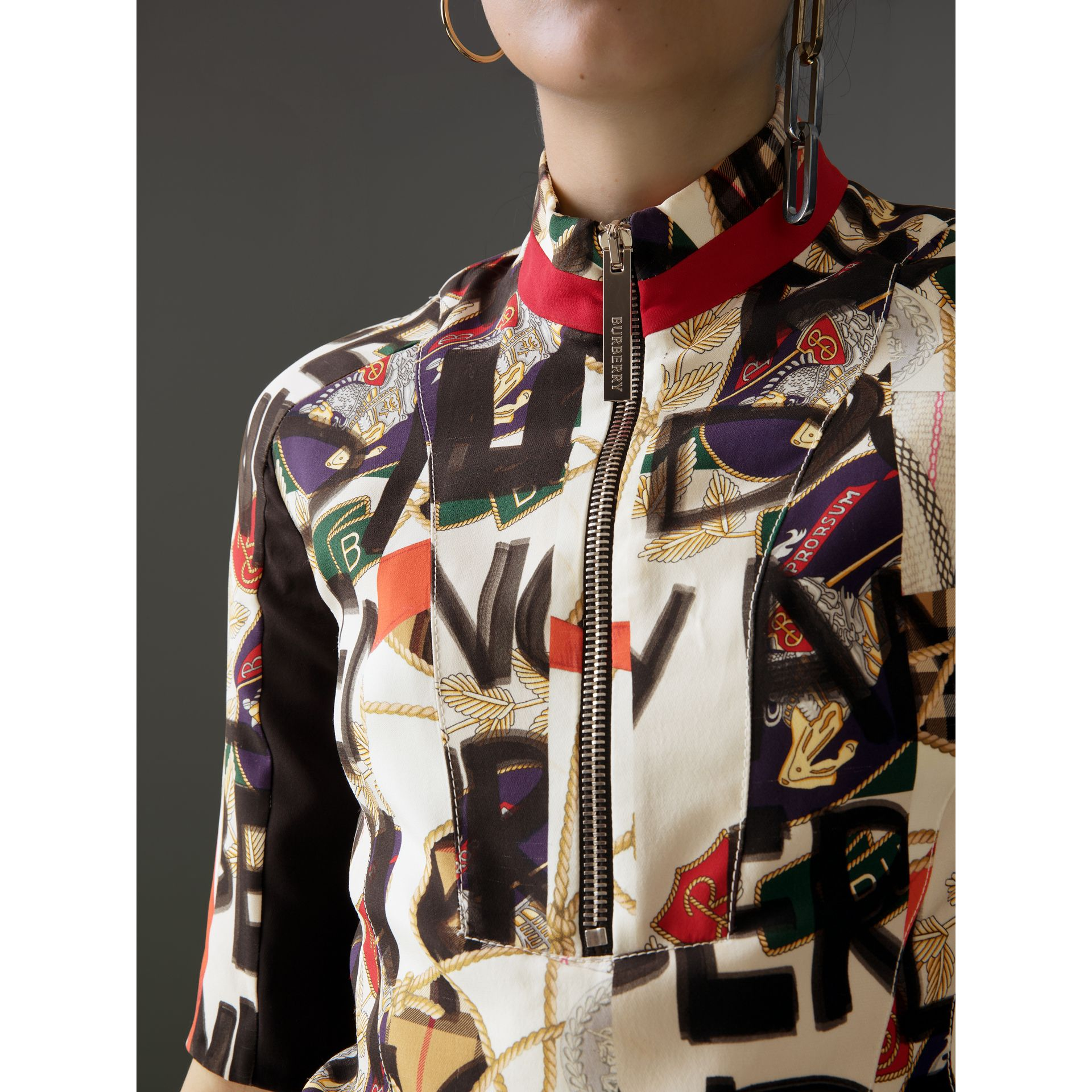 Graffiti Archive Scarf Print Silk Wool Half-zip Top in Stone - Women | Burberry Australia - gallery image 1
