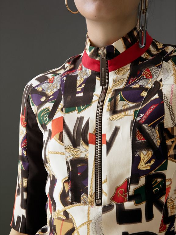 Graffiti Archive Scarf Print Silk Wool Half-zip Top in Stone - Women | Burberry United Kingdom - cell image 1