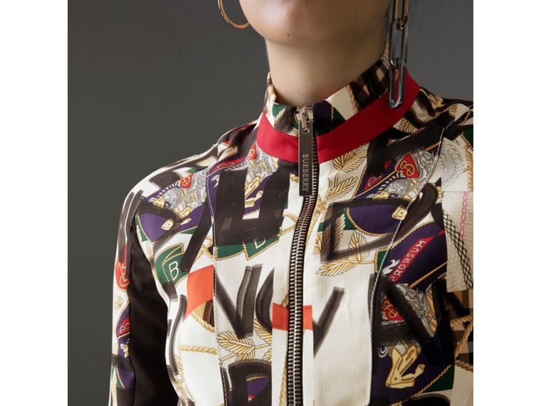 Graffiti Archive Scarf Print Silk Wool Half-zip Top in Stone - Women | Burberry - cell image 1