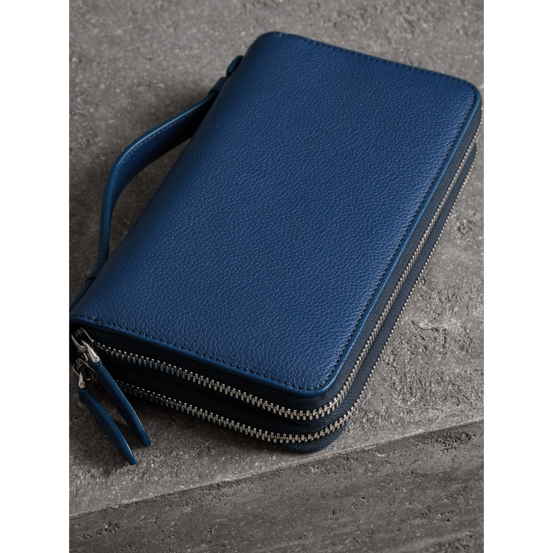 Grainy Leather Travel Wallet in Bright Ultramarine - Men | Burberry Hong Kong - gallery image 2