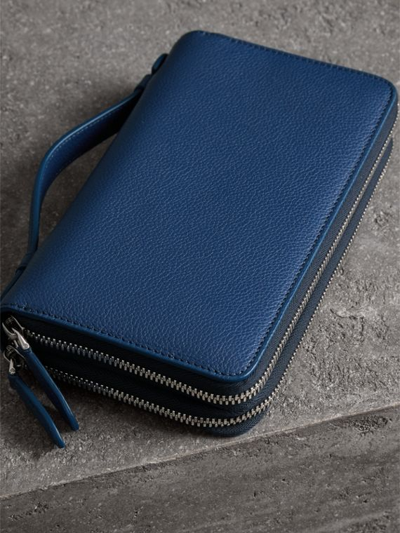 Grainy Leather Travel Wallet in Bright Ultramarine - Men | Burberry Australia - cell image 2