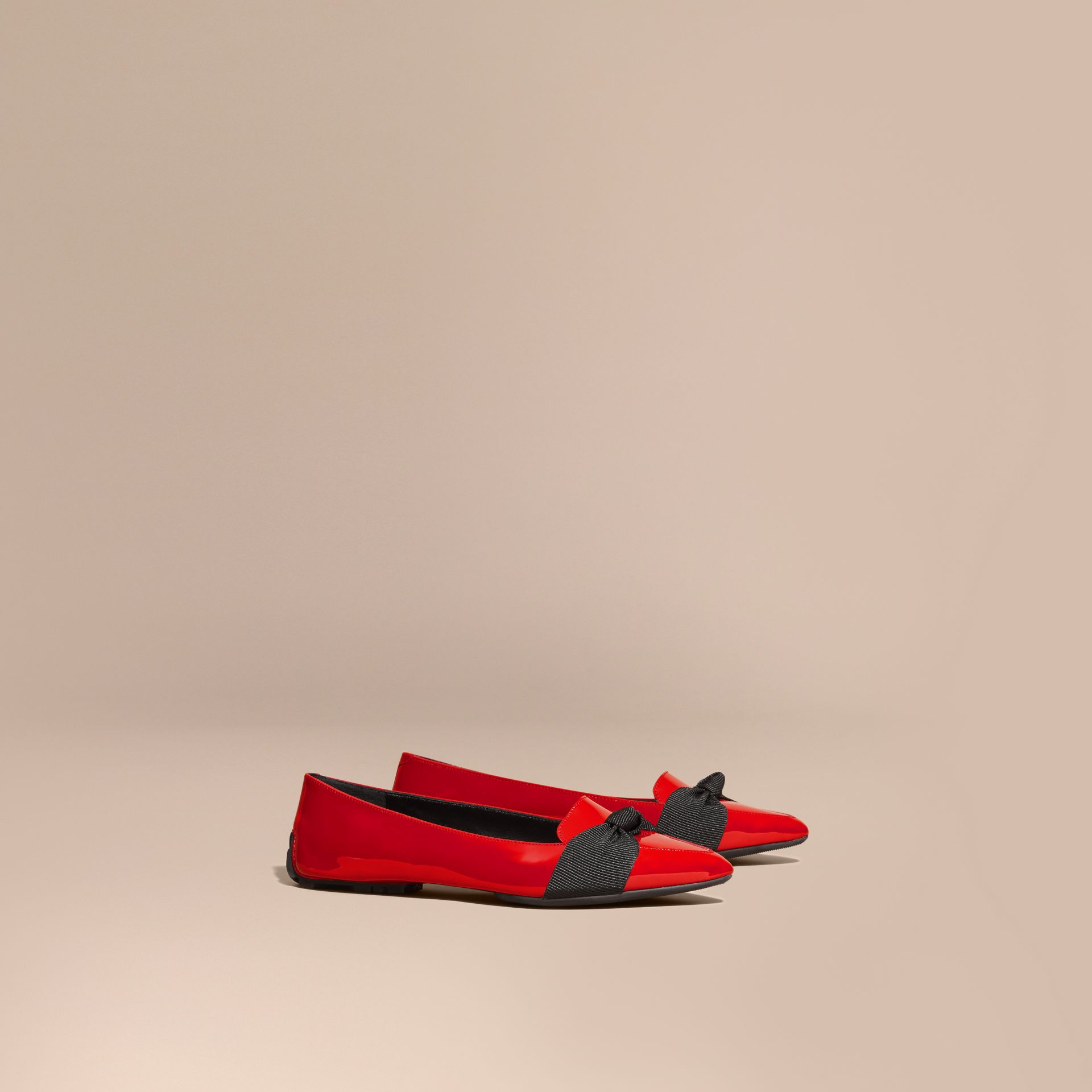 Peony red Patent Leather Loafers with Grosgrain Bow Peony Red - gallery image 1