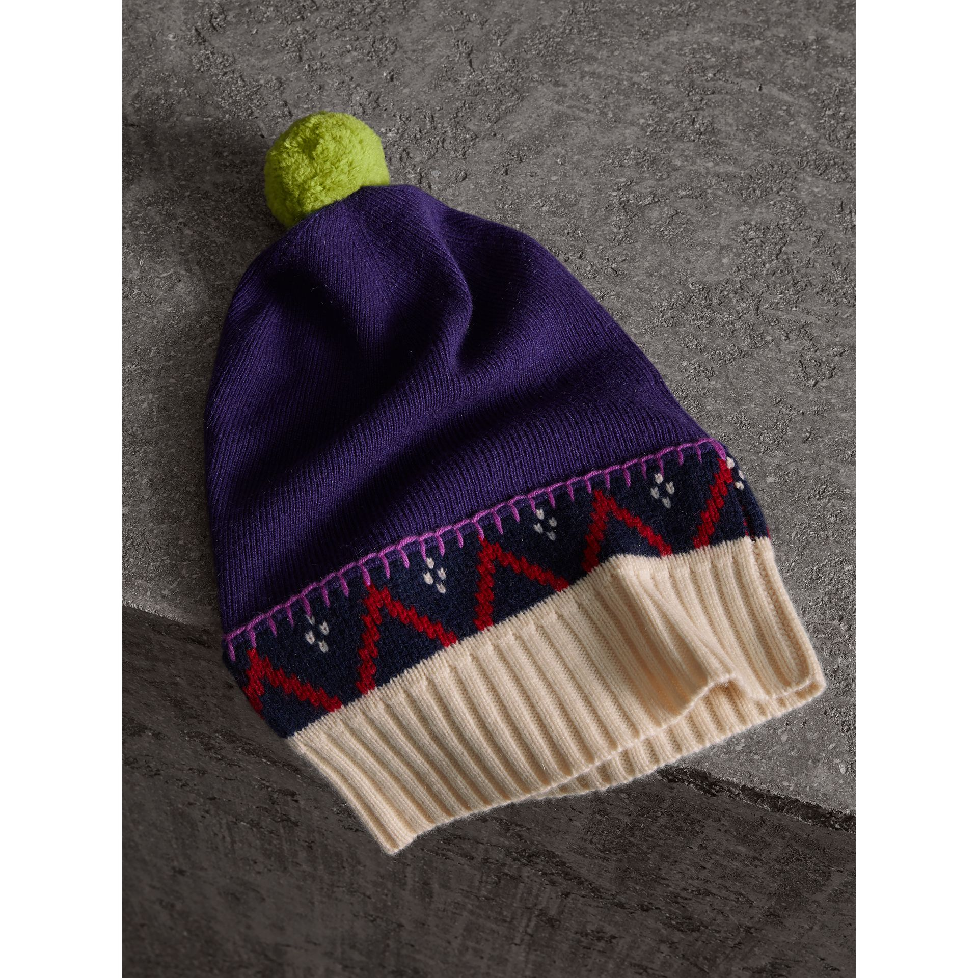 Pom-pom Cashmere Wool Beanie in Purple Grape | Burberry - gallery image 1