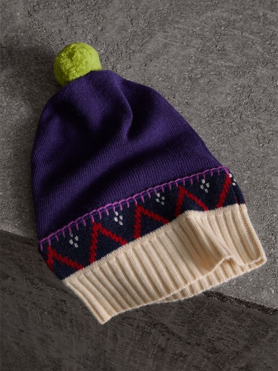 Pom-pom Cashmere Wool Beanie in Purple Grape