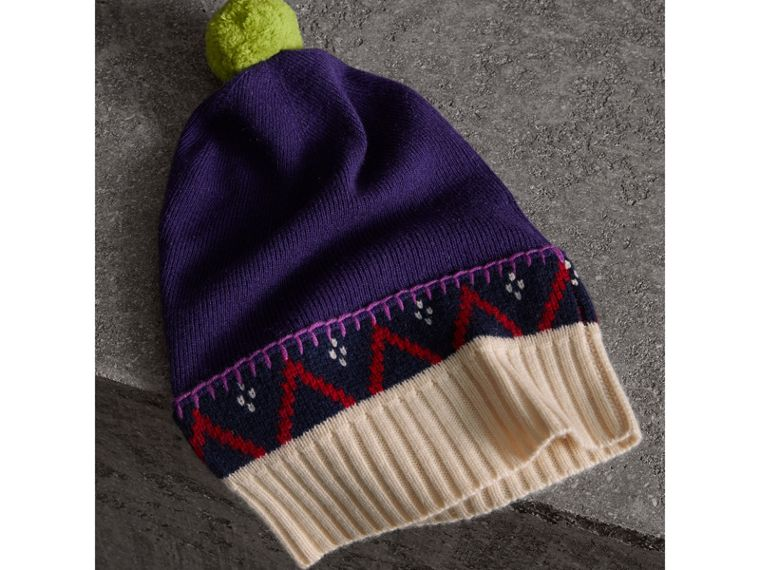 Pom-pom Cashmere Wool Beanie in Purple Grape | Burberry Singapore - cell image 1