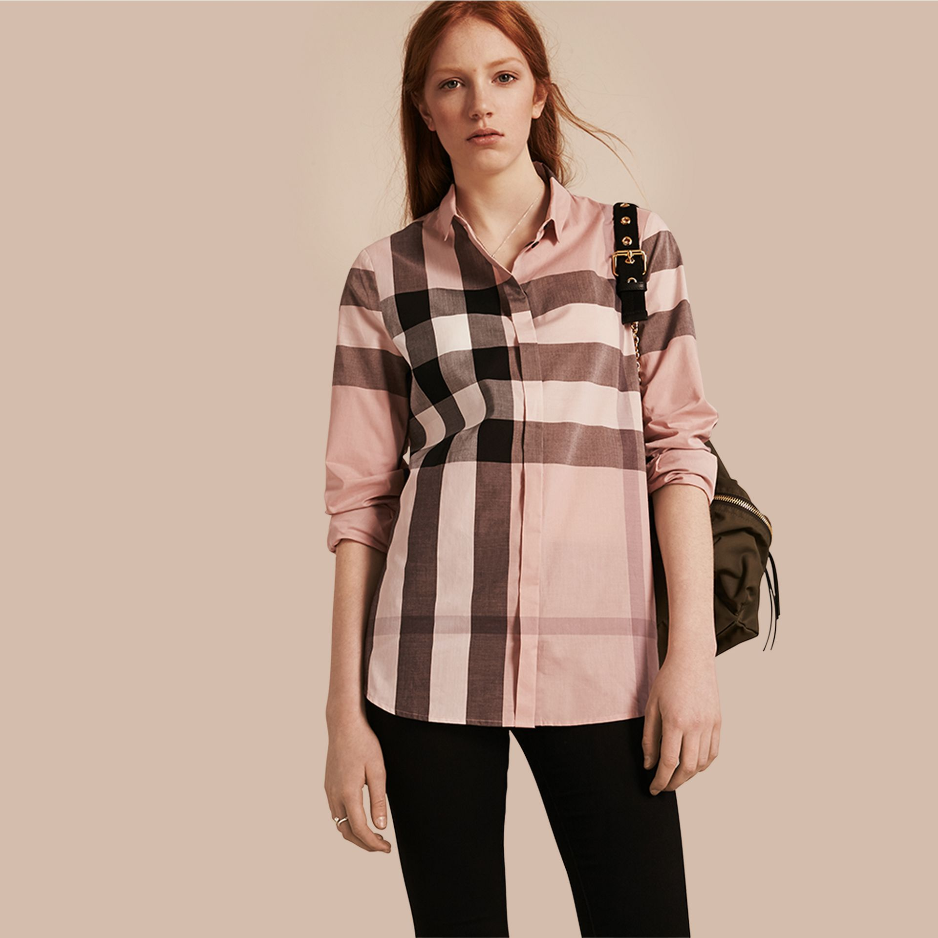 Antique pink Check Cotton Shirt Antique Pink - gallery image 1