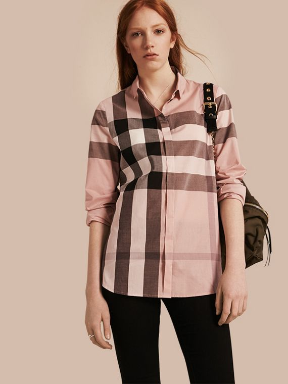 Check Cotton Shirt Antique Pink