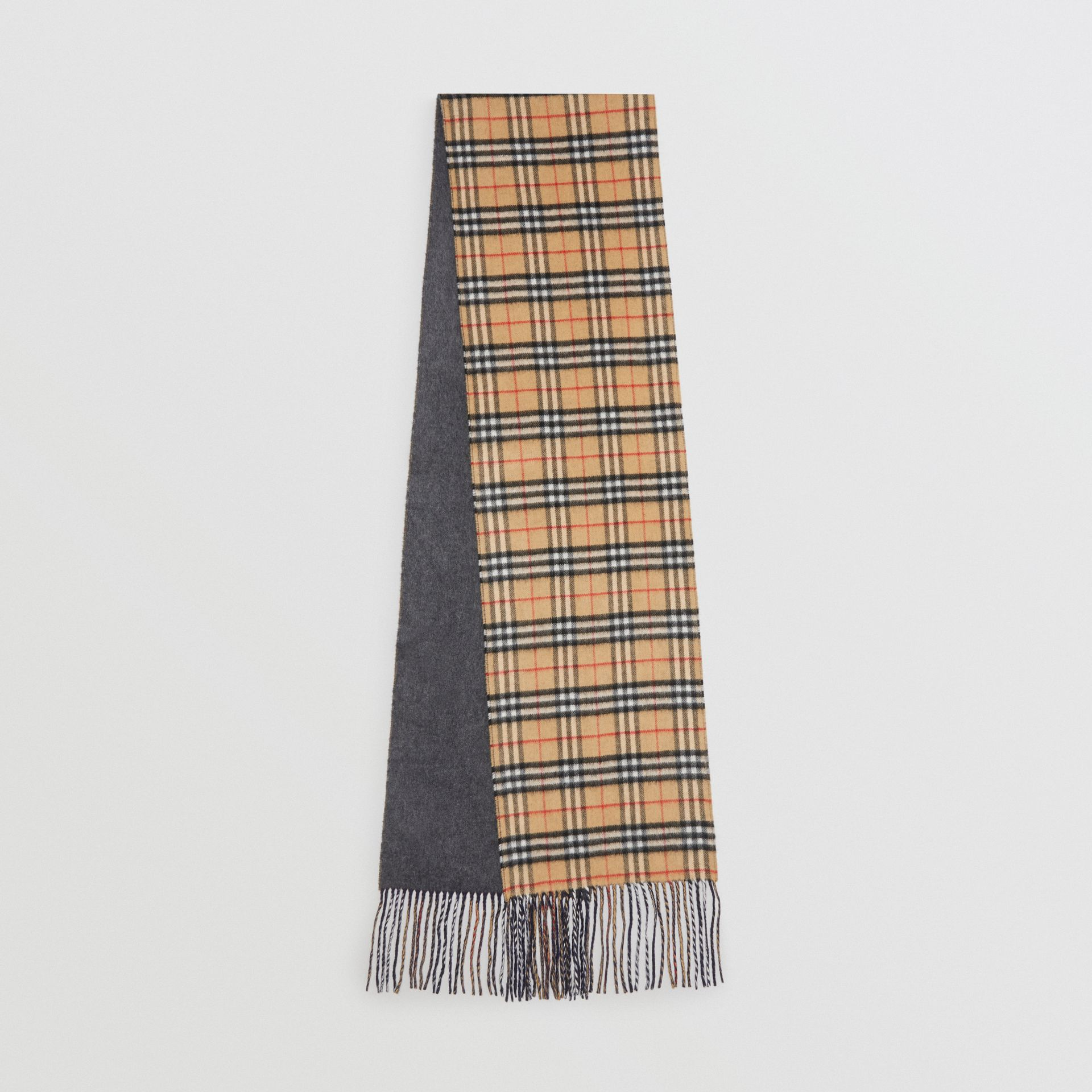 Long Reversible Vintage Check Double-faced Cashmere Scarf in Slate Blue | Burberry United Kingdom - gallery image 0