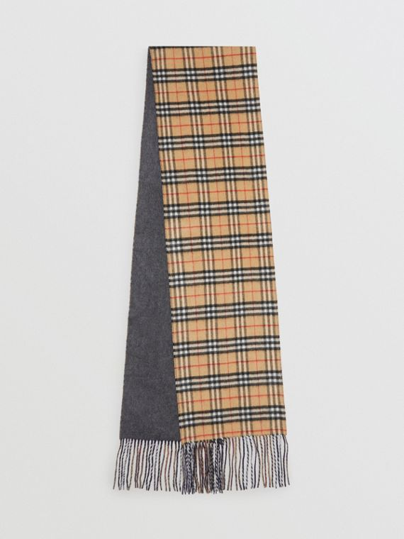 Long Reversible Vintage Check Double-faced Cashmere Scarf in Slate Blue