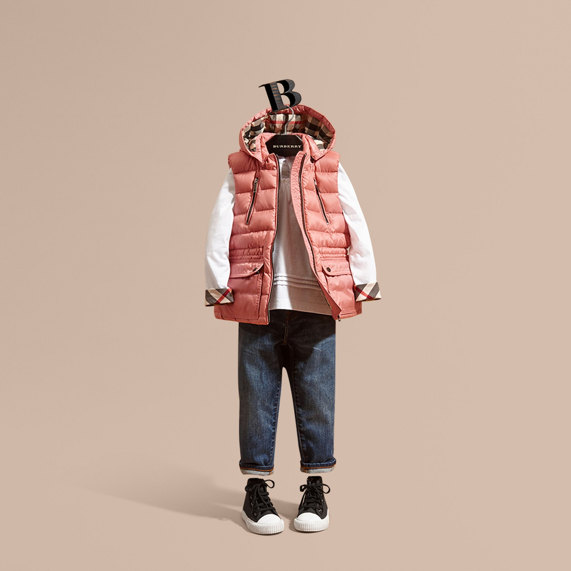 Hooded Down-filled Gilet Light Copper Pink - gallery image 1